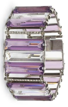 An Art Deco amethyst, rock crystal and eight-cut paste bracelet, mounted in…