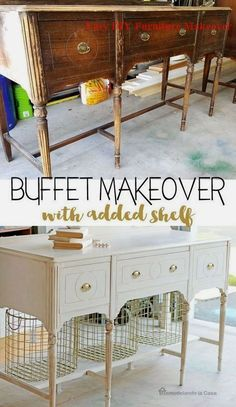 A buffet makeover thats like day and night! The post Buffet Makeover appeared first on Furniture ideas. Diy Old Furniture Makeover, Diy Furniture Renovation, Diy Furniture Easy, Diy Furniture Projects, Repurposed Furniture, Painted Furniture, Refurbished Furniture, Vintage Furniture, Distressed Furniture