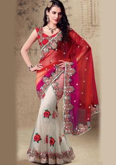 Z Fashion Trend: WHITE AND RED EMBROIDERED DESIGNER SAREE