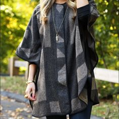 Talbots wool ruana poncho still selling in stores New and currently on sale Talbots wool poncho coat with zipper front closure. Proper coat with stitching on sides for sleeves. Gorgeous piece NWT wear as a fall coat or a layering piece, begging to be styled with a wool fedora! Talbots Jackets & Coats