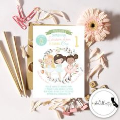 Ballerina // Tutu Cute // Tulle // Teal Pink Yellow Green // Ballet Birthday Party Invitation by SoCalCrafty. Printed or Printable. $16+