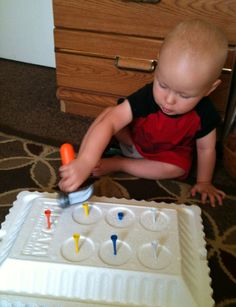 Tot school! ideas for helping your little toddlers learn. Blog has weekly themes full of detailed play activities. Hammer week sounds like fun!