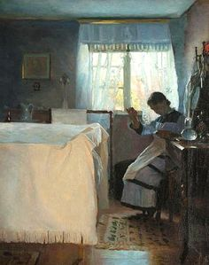 Peder Ilsted, Woman Sewing by the Window, 1886