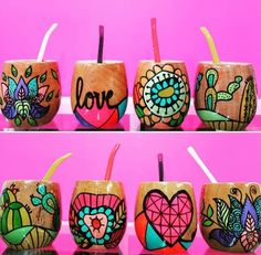 Pottery Painting, Ceramic Painting, Painting On Wood, Ceramic Art, Diy And Crafts, Arts And Crafts, Cement Art, Painted Flower Pots, Painted Cups