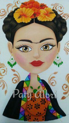 Frida pintura en tela elaborada por Paty Albri para juego de baño