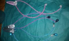 pink, blue and purple with pearls