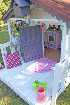 For the front of our new storeroom! Playhouse Interior, Pallet Playhouse, Playhouse Outdoor, Outdoor Play, Outdoor Spaces, Cubby Houses, Play Houses, Kids Play Area, Kids Room