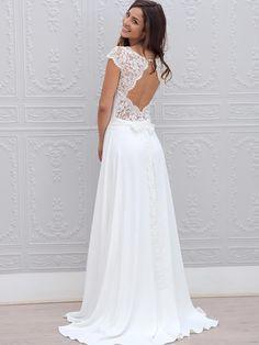 A-Line/Princess Short Sleeves Scoop Chiffon Lace Sweep/Brush Train Wedding Dresses