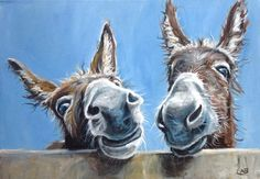 Double Trouble Painting by Louise Brown Farm Paintings, Animal Paintings, Cartoon Drawings, Animal Drawings, Oil Painting Abstract, Watercolor Art, Donkey Drawing, Farm Art, Cute Cows