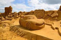 car sand-The Blankenberge fest also featured sculptures on the beach—like this massive Cars sculpture.