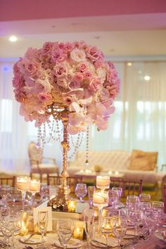 Rose and Orchid Gold Wedding Reception Centerpiece - MODwedding Photographer: She Wanders Photography, Via Blush Botanicals; Stunning pink rose and white orchid gold wedding reception centerpiece; Pink And Gold Wedding, Rose Wedding, Wedding Flowers, Dream Wedding, Wedding Day, Trendy Wedding, Spring Wedding, Elegant Wedding, Ballroom Wedding