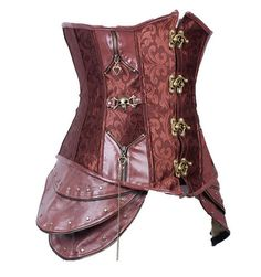 We know, pretty impressive right? Anyone wearing this will look incredible! Take cosplay to the next level in this intricately designed steampunk corset. Color: Brown Material: Spandex, Polyester Blen