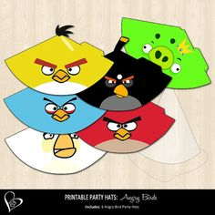 Angry Birds Printable Party Hats by SweetDreamsOfArt on Etsy