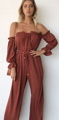 Brown Boho Off The Shoulder Jumper ✖️ White Ripped Skinny Jeans, Off The Shoulder Jumper, Black Bell Sleeve Top, White Denim Skirt, Long Jumpsuits, Cute Outfits, Pretty Outfits, Little Dresses, Spring Outfits