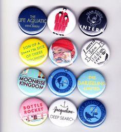 WES ANDERSON badges - set of 12 - rushmore life aquatic steve zissou bill murray Moonrise Kingdom The Darjeeling Limited Royal Tenenbaums