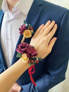 Excited to share this item from my #etsy shop: Burgundy corsage and boutonniere set. Fall wedding boutonniere. Prom corsage and boutonniere set. Autumn wedding flowers. Prom Corsage And Boutonniere, Wedding Boutonniere, Fall Wedding Flowers, Autumn Wedding, Berries, Burgundy, Etsy Shop, Fabric, Handmade