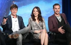 """Matt Lanter, Aimee Teegarden, and Grey Damon of the television show """"Star-Crossed"""" speaks onstage during the CW portion of the 2014 Winter TCA tour at the Langham Hotel on January 15, 2014 in Pasadena, California. - Winter TCA Tour: Day 7"""