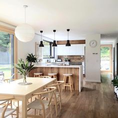 Kitchen dining - Taramea Passive House NZ by Climate House NZ Kitchen Room Design, Modern Kitchen Design, Living Room Kitchen, Home Decor Kitchen, Kitchen Interior, Home Interior Design, Home Kitchens, Kitchen Ideas, Kitchen Flooring