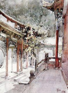 Huayi Yu (China's top female professor of architecture watercolor).