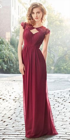 Burgundy Chiffon A-line gown, pleated bodice with V-neckline, natural waist, gathered skirt.