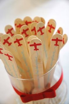 stamping on wooden forks or spoons - nice way to blend into the party theme