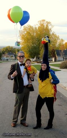 Up! Family Halloween costume: Mr. Fredrickson, Kevin, and Russel for a family of four you could just add the a dog costume for the dog in up. :)
