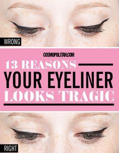 While eyeliner can magically transform your eyes, it can also make you look like a hot mess if it's applied improperly. Use these tricks from Patrick Ta, makeup artist to Gigi Hadid and Kim Kardashian, to nail your look every time. Rosa Eyeliner, Pink Eyeliner, Eyeliner Looks, Winged Eyeliner, Pencil Eyeliner, Gel Eyeliner, Glitter Eyeshadow, Eyeliner Waterline, Eyeshadow Crease