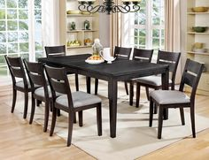 """7 pc Beresford collection transitional style dark gray finish wood dining table set. This set includes the table and 6 side chairs . Table measures 60"""" (78"""" with 1 -18"""" leaf )"""" x 42"""" x 30"""" H. Side chairs measure 19 1/2"""" x 22"""" x 35 5/8"""" H. Some assembly required."""