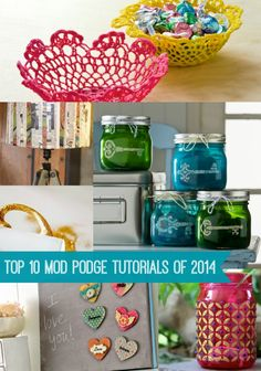 People love Mod Podging! This retro craft is a blast, and you'll love it too. Here are the top 10 Mod Podge craft tutorials of 2014.