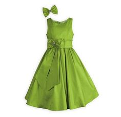 Girl's special occasion Key Lime Shimmer dress with coordinating hair bow.A Wooden Soldier exclusive dress for graduation day.