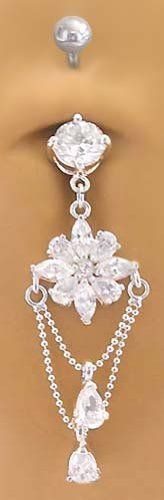 Belly On Navel Ring Barbell Aurora Borealis Crystals Chandelier Naval And