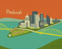 Pittsburgh, PA Skyline 8 x 10  Print - style orange E8-O-PIT1 or style blue E8-O-PIT2 - Wall Art for Home, Office, and Nursery. $26.00, via Etsy.