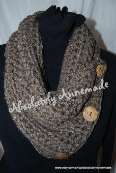 Crochet 3 Button Cozy Cowl Bulky Yarn Wooden by AbsolutelyAnnemade