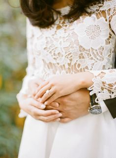 We love this bride's outfit!! http://www.stylemepretty.com/little-black-book-blog/2014/12/18/elegant-autumn-new-york-city-engagement-session/   Photography: Rebecca Yale - http://rebeccayaleportraits.com/