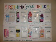 Rethink Your Drink (Library program) (image only) Primary Teaching, Student Teaching, Teaching Ideas, Children's Dental, Dental Kids, Pe Bulletin Boards, Dental Health Month, Poster Display, Library Programs