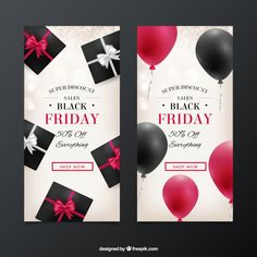 Brochures of black friday with attractive discounts Free Vector