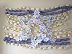 Arts & craft Israeli flag, paper chains, hand prints, religious school, Hebrew school, Sunday school