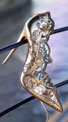 Christian Louboutin Impera Pumps ~ Gold & silver scrolls ~ Love the mix of the two colors~❥