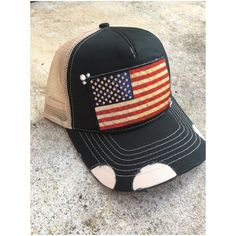 American flag distressed trucker hat with touch of bling Custom Made Hats, American Flag, Bling, Touch, Etsy, Fashion, Moda, Jewel, American Fl