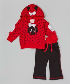 Another great find on #zulily! Duck Duck Goose Red Polka Dot Fleece Ladybug Hoodie & Black Pants - Infant by Duck Duck Goose #zulilyfinds what i want to bring my daughter home.