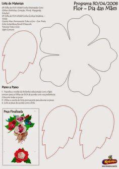 ARTESANATO COM QUIANE - Paps,Moldes,E.V.A,Feltro,Costuras,Fofuchas 3D: Dia das Mães