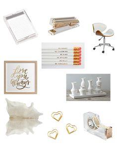 Home office inspiration. Kriste Michelini Interiors   SF Bay Area Interior Design #office #officeaccessories #accessories #officechair #chair #artwork #pencils #tapedispenser #cowhide #paperclips #stapler #notepad #interiordesign #ceramics #modern
