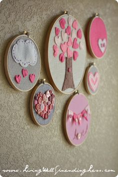 Embroidery hoop art--cute & easy craft project to do with kids.