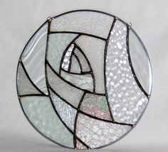 Sale 35% off Clear stained glass window panel round abstract art glass stained glass panel window hanging geometric suncatcher