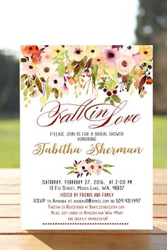 Fall Bridal Shower Invitation In Love Falling Rustic