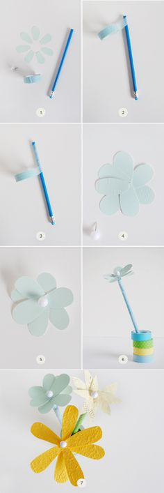 Mer Mag Easy Flower Pencil Toppers on Minted blog Julep