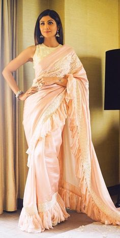 Indian Bridal Outfits, Indian Designer Outfits, Designer Dresses, Designer Sarees, Saree Blouse Designs, Blouse Styles, Shilpa Shetty Saree, Saree Gown, Lehenga