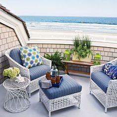 Blue and white beach house porch