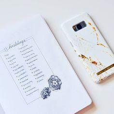 Bullet journal hashtags log, flower drawing.   @mynorthernjournal