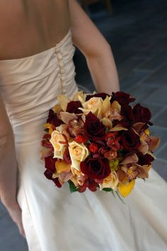 love the bouquet and this picture idea! Burgandy, taupe, and butter yellow bouquet